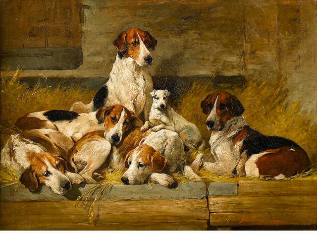 John Emms (British, 1843-1912) Foxhounds 20 x 26 3/4 in. (51 x 68 cm.)