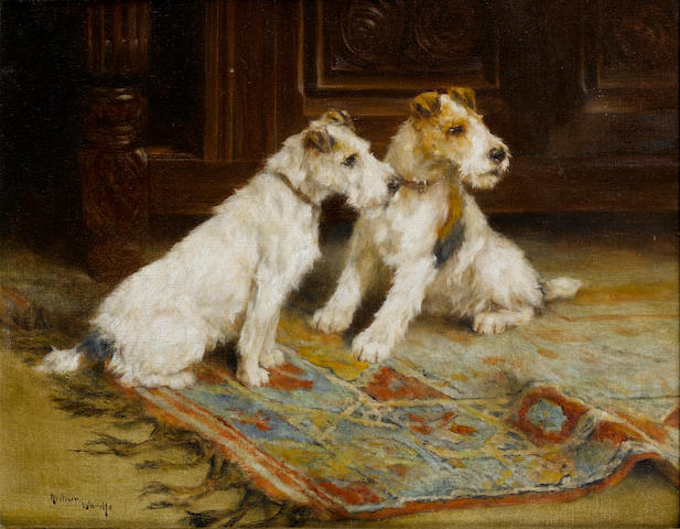 Arthur Wardle, RI (British, 1864-1949) Wire Haired Fox Terriers 14 x 18 in. (35.5 x 45.5 cm.)