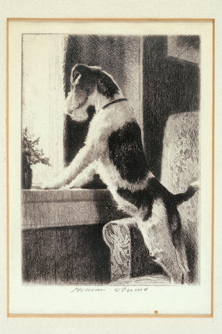 Morgan Dennis (American, 1892-1960) Waiting at the window, and Play with me: two sight of each 5 x 3 1/2 in. (12.6 x 8.9 cm.) ((2) one illustrated)