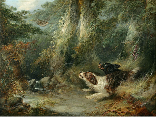 George Armfield (British, 1810-1893) Springer Spaniels flushing out a snipe