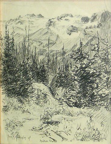 Frank Milton Armington (Canadian, 1876-1941) Asulkan Glacier, 1911 13 1/4 x 10 1/2in