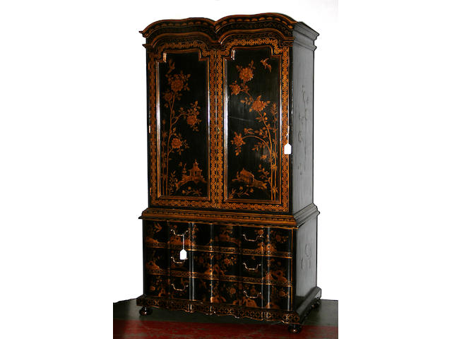 A Queen Anne style chinoiserie decorated cabinet