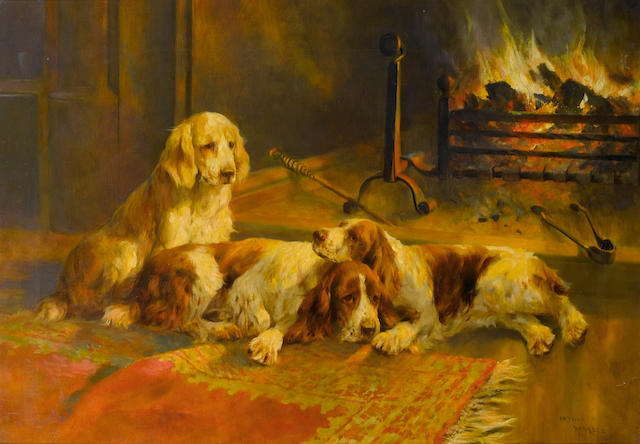 Arthur Wardle, RI (British, 1864-1949) A winter fireside