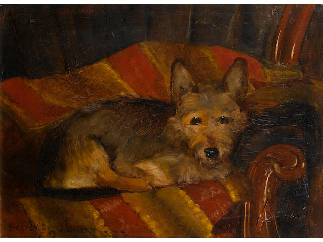 Sir John Lavery R.A., R.S.A., R.H.A. (1856-1941) Dog on a chair 16 x 21 3/4 in. (40.5 x 55 cm.)