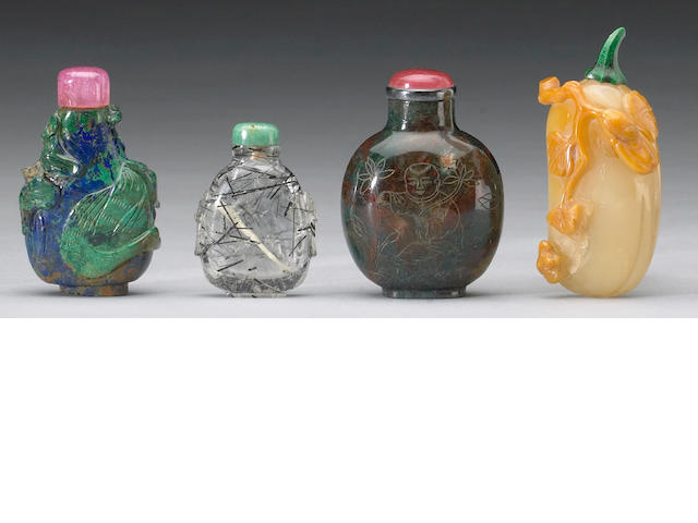A group of Chinese snuff bottle comprising: a jasper, a lapis and malachite, a hair crystal, and aga