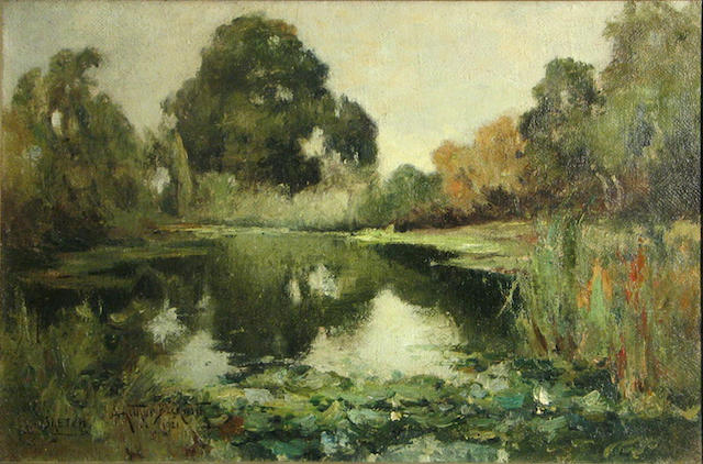 Arthur Beckwith (American, 1860-1930) The secluded pond, 1921 20 x 30 1/2in