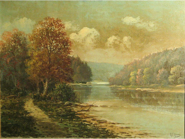 Albert Francis King (American, 1854-1945) On the Allegheny above Oil City 18 x 24in