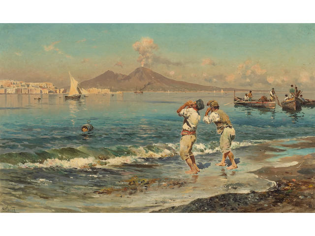 Antonino Leto (Italian, 1844-1913) A view of the Bay of Naples with fishermen in the foreground 15 1/2 x 25 1/4in (39.3 x 64.2cm)