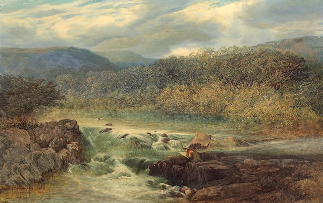 Joseph Paul Pettitt (British, 1812-1882) A river landscape with an artist sketching on a rock mid-stream 14 x 22in (35.5 x 55.9cm)