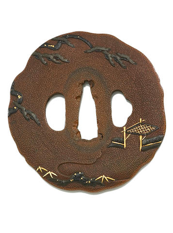 A copper ishime tsuba  Edo period (19th century)