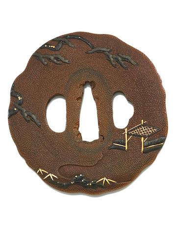 A copper ishime tsuba  Edo period (19th century)