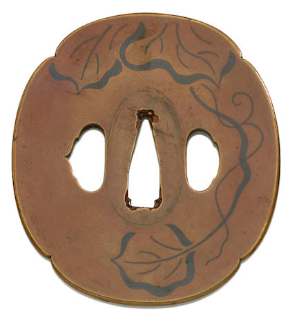 An Umetada school copper tsuba Edo period (18th century)
