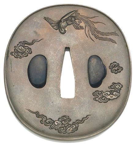 A shibuichi tsuba by Goto Seijo Late Edo period (mid.19th century)