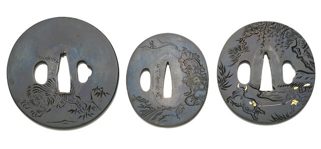 Three shibuichi tsuba with engraved designs Edo Period, 19th Century