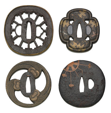 Four Heianjo style tsuba Momoyama to Edo Period, Late 16th to 17th Century