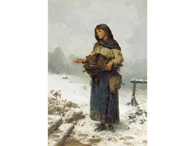 German School, 19th Century The beggar maid 27 x 18 1/2in (68.6 x 47cm)
