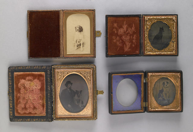 Group of three cased ambrotypes together with a cased tintype of dogs<br/>19th century