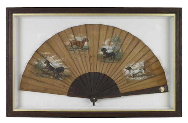 Two Continental fans with dog decoration, 19th/20th century