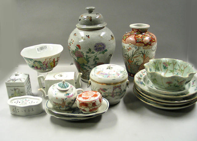 A large group of Chinese and Japanese enameled porcelains Late 19th and 20th Centuries