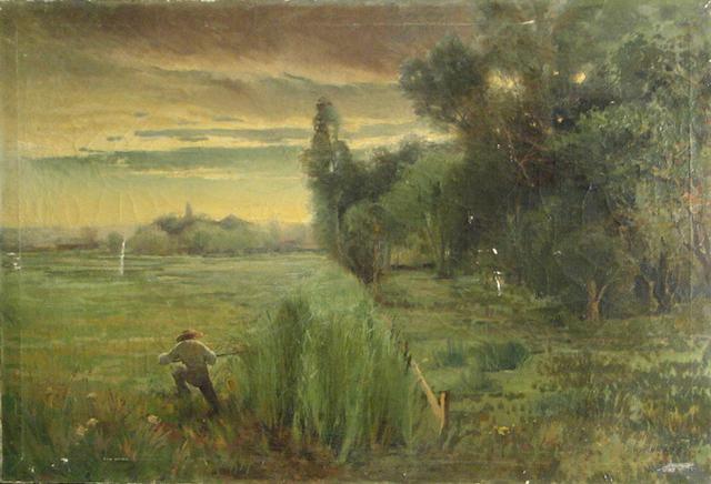 William Hubacek (American, 1871-1958) The Hunter 24 1/2 x 36 1/2in unframed