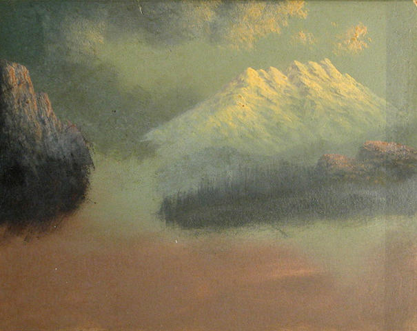 Eliza Barchus (1857-1959) Three sketches of Mt. Rainier; A view of Mt. Hood; A sketch of Crater Lake; A sketch of Mt. Shasta; with accompanying pamphlets and postcards on the artist's work (6) smallest, 3 1/4 x 5 1/4in; largest 6 x 8in (oval)