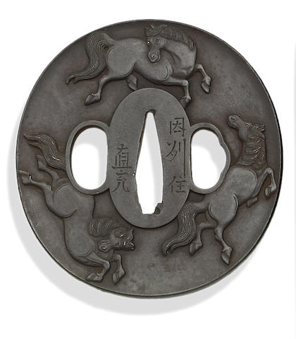 An iron tsuba By Hayata Naomitsu, Late Edo Period, 19th Century