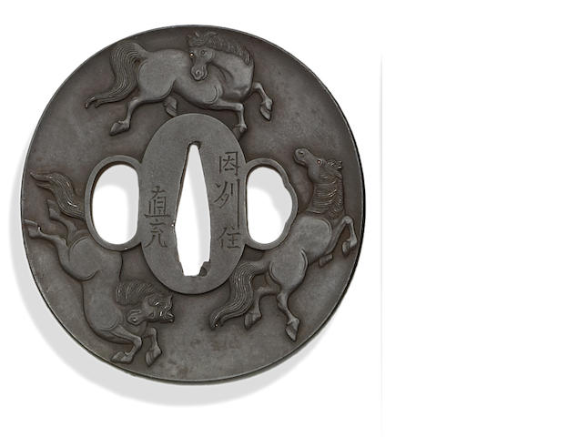 An iron tsuba by Hayata Naomitsu  Late Edo period (19th century)
