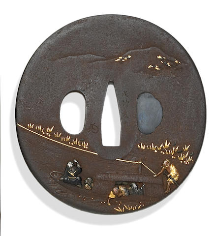 An iron tsuba Edo Period, 19th Century