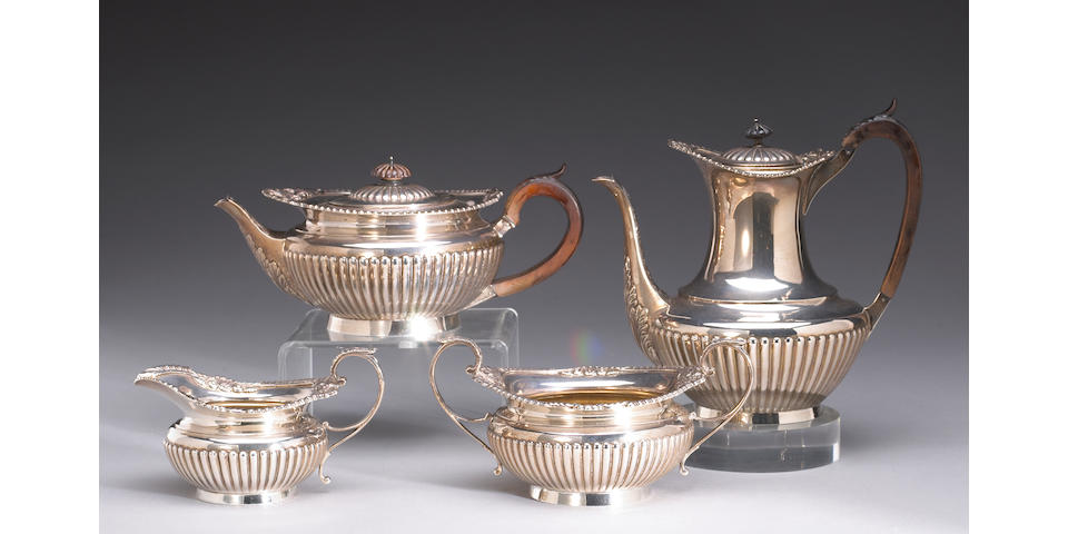 Victorian Silver and Wood Four Piece Tea and Coffee Set After the Antique by Barnard