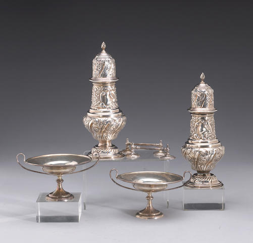 Pairs of English Silver Table Articles