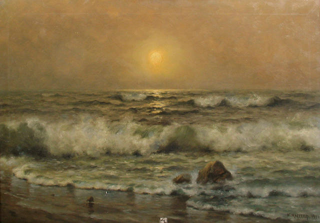 Nels Hagerup (Norwegian/American, 1864-1922) Dawn at a Tranquil Beach, 1901 18 x 30 1/4in