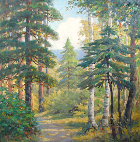 David Ericson (American, 1873-1946) A Forest Path 32 x 32in