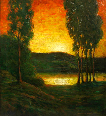 Frederick L. Packer (American, 19th/20th century) Eucalyptus Trees near a Bay at Sunset 24 x 20in