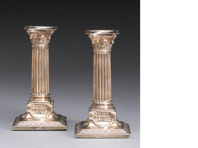 Victorian Silver Pair of Corinthian Columnar Form Candlesticks by Martin & Hall Co., Ltd.