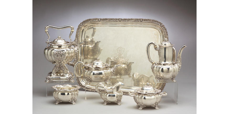 Sterling Chrysanthemum Tea and Coffee Set with Tray by Tiffany & Co.