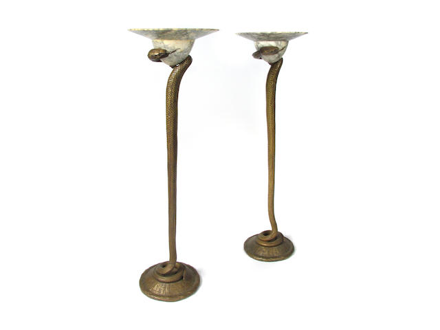 A pair of Edgar Brandt style bronze snake form torchère lamps with marble shades