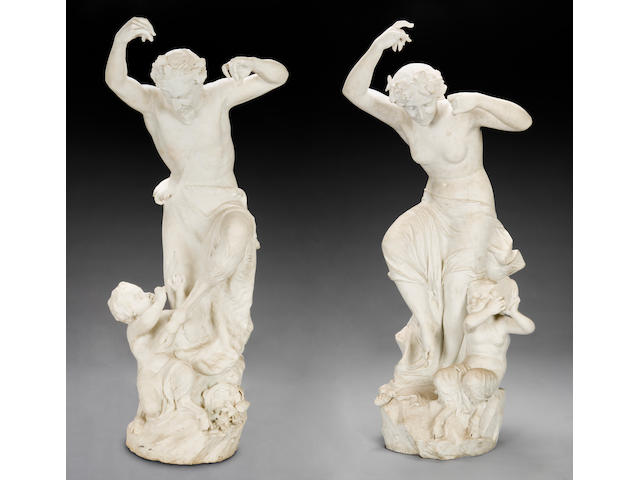 A magnificent pair of Italian carved figures of dancing fauns