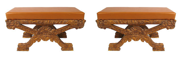 A pair of Italian style upholstered benches
