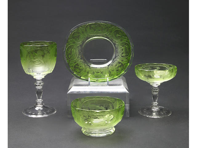 A Continental etched colored glass part dessert service