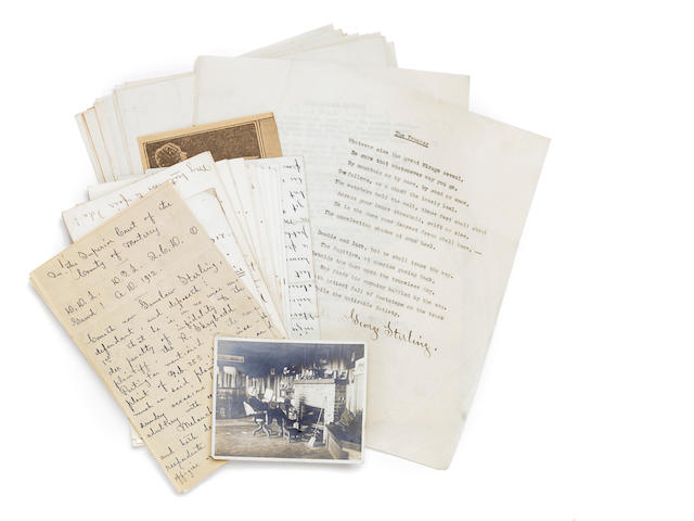 Archive of corr. and mss of George Sterling, 23 letters, 18 mss, plus original photos.