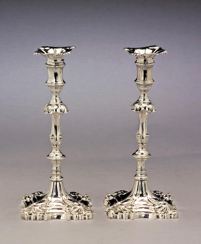 Early George III Silver Pair of Cast Candlesticks by Hannam & Carter