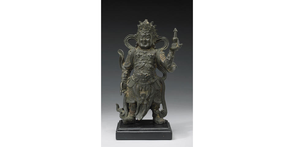 A cast bronze figure of Duowen  Ming Dynasty