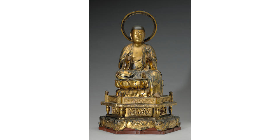 A gilt lacquered wood Buddhist statue 19th Century