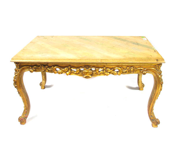 A Louis XV style coffee table with marble top