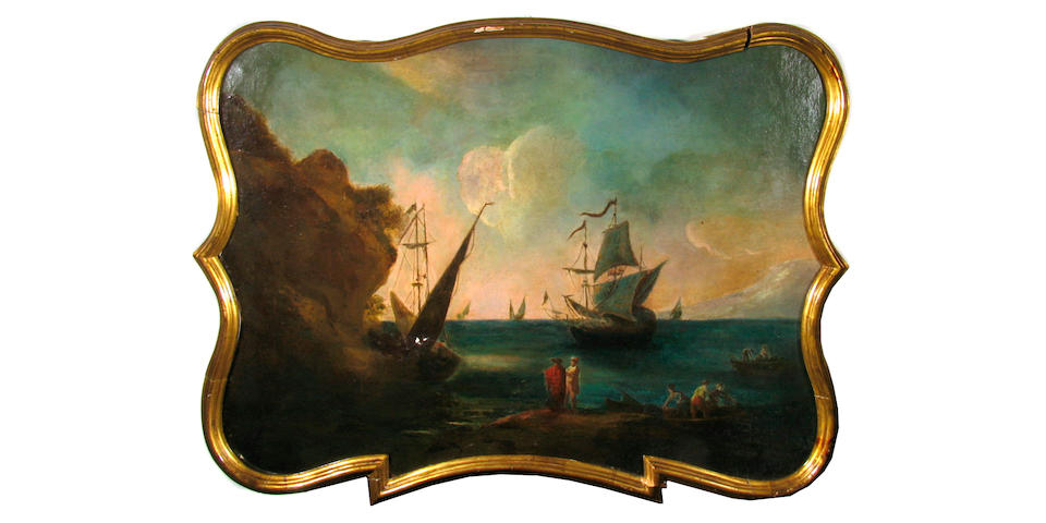 Italian School (18th century) A coastal scene with ships in the harbor; also a companion painting (a pair) each shaped canvas 28 1/2 x 40in