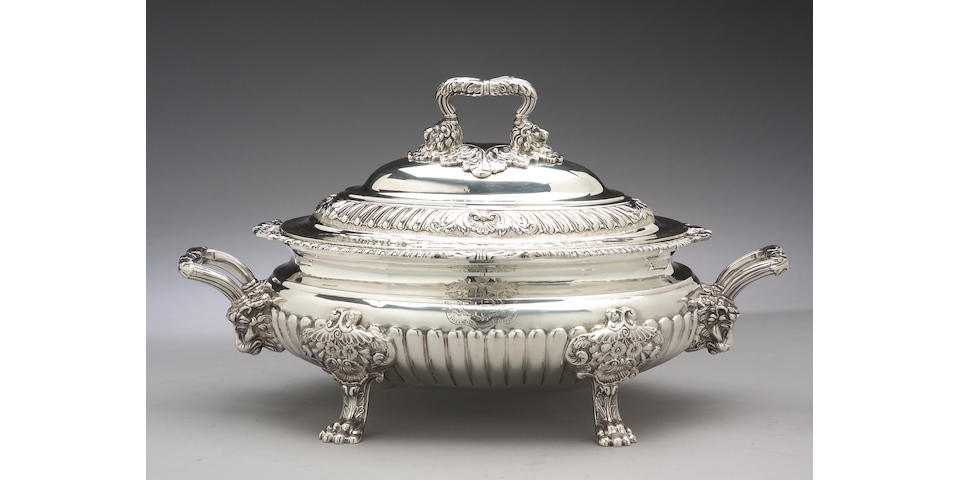 George III Silver Soup Tureen with Cover by George & John Cowie