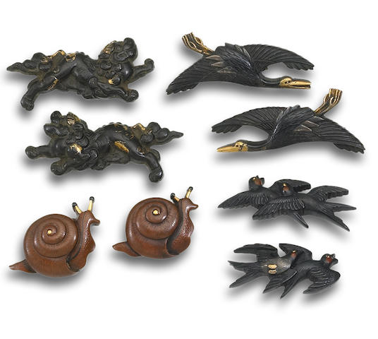 Four pairs of menuki Edo period (18th to 19th century)