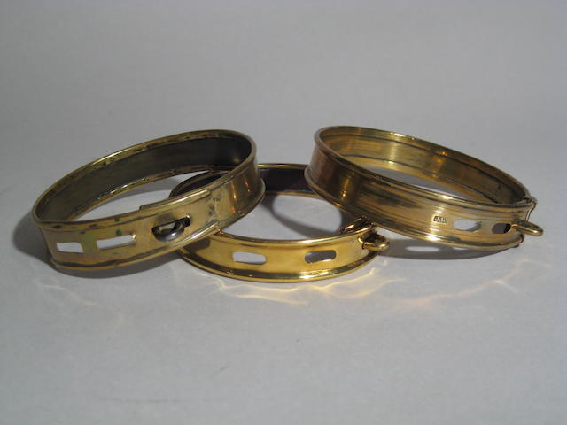 Group of three Victorian brass collars