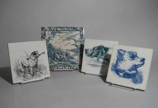 Group of four British glazed ceramic tiles 19th/20th century