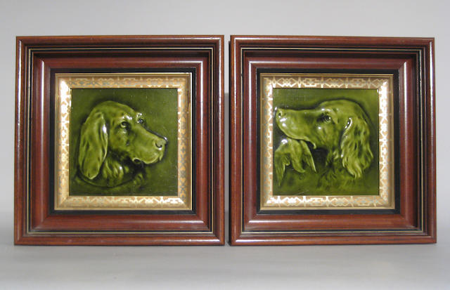 Pair of American glazed ceramic tiles depicting dogs 20th century